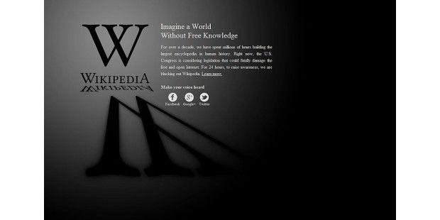 Die englischsprachige Wikipedia war aus Protest gegen PIPAund SOPA einen Tag lang nicht erreichbar.