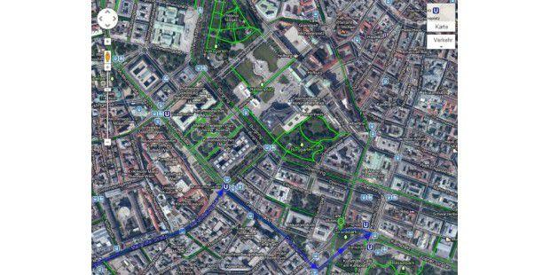 Google Maps blendet Fahrradwege ein