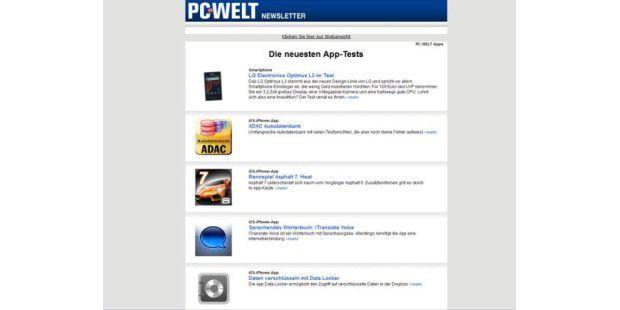 Die neuesten App-Tests für iOS & Android erhalten Sie von uns jeden Tag gratis in Ihr Mailpostfach