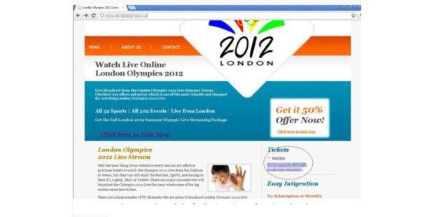Von Betrügern erstellte Website, die dem Besucher suggeriert, hier gäbe es Live-Streams von den Olympischen Sommerspielen 2012 in London