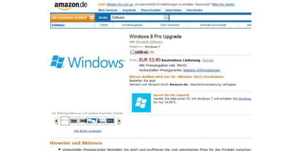 Windows 8 Pro (Upgrade) auf Amazon