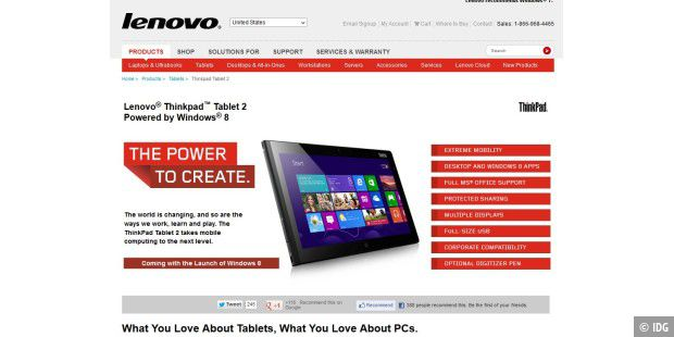 Lenovos Promo-Site zum neuen ThinkPad Tablet 2 mit Windows 8