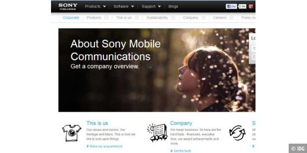 Website von Sony Mobile