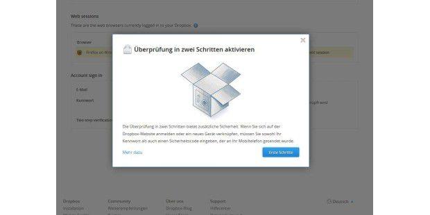 Dropbox Zwei-Faktor-Aktivierung