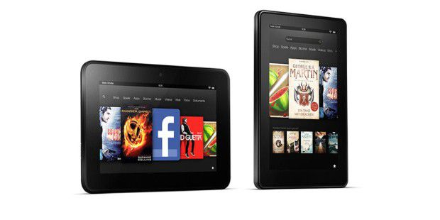 Links das Amazon Kindle Fire HD, rechts das neuste Kindle Fire.