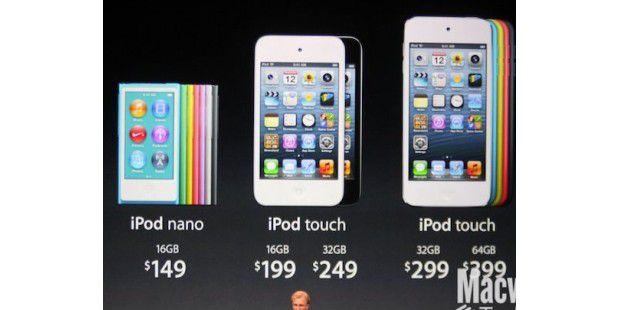 Preise und Größen der iPods&#x3B; das in der Mitte ist der alteiPod Touch