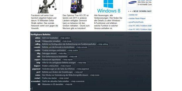 Firefox 16: Entwickler-Werkzeugleiste &Kommandozeile