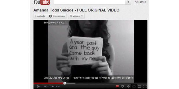 Amanda Todd: Hilferuf via Youtube