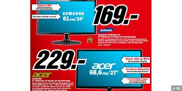 Displays bei Media Markt