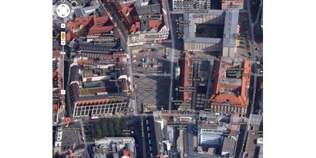 Leipzig in der 45-Grad-Ansicht in Google Maps