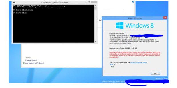 Screenshot von Windows Blue? (Quelle: Winareo)