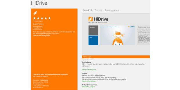 Windows-8-App für HiDrive