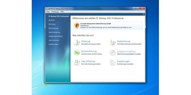 Gratis-Vollversion: zebNet Backup 2012 Professional