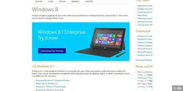 Windows 8.1 Enterprise Preview kann getestet werden
