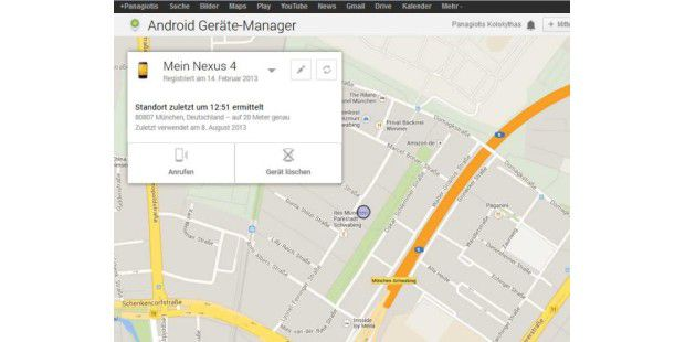 Android Geräte-Manager in Aktion