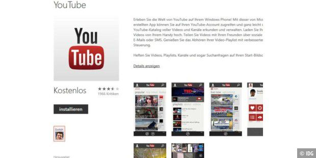 Youtube-App für Windows Phone