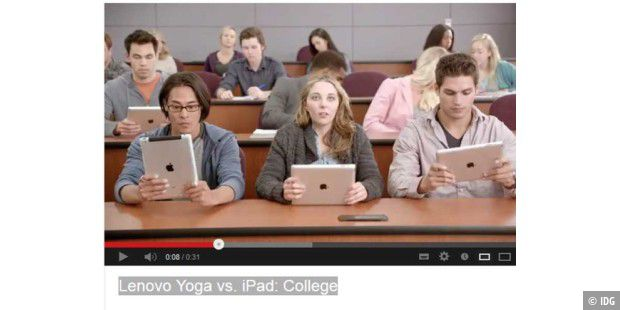 Microsoft-Werbeclip:  Lenovo Yoga vs. iPad: College