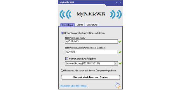 In der Konfiguration von MyPublicWiFi sollten Sieunbedingt den Netzwerkschlüssel und die SSID ändern