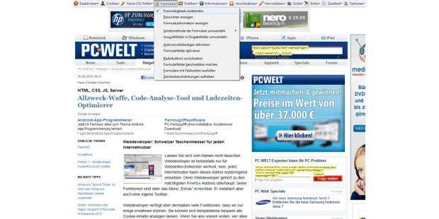 Die Web Developer Toolbar liefert eine Fülle von Informationen zu der gerade geöffneten Webseite. Der Screenshot zeigt die Optionen für die Formularbehandlung.