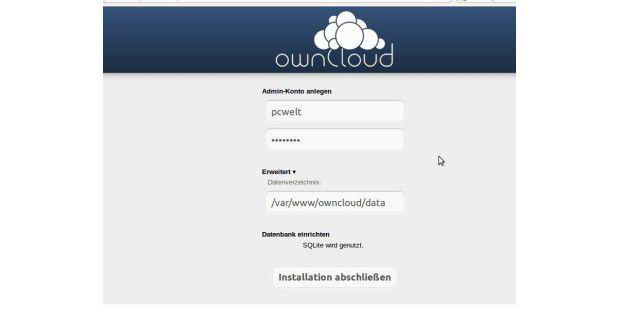 Den letzten Schritt zur ownCloud führen Sie via Browserdurch.