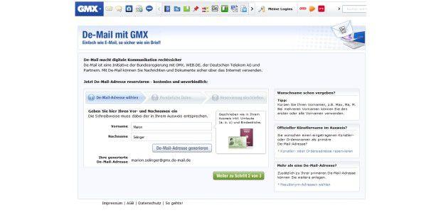 Die Einrichtung der neuern De-Mail-Adresse bei GMX, Web.deoder der Telekom ist einfach und schnell erledigt