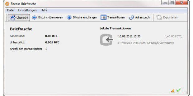 Verwalten der eigenen Bitcoins im Bitcoin-Client