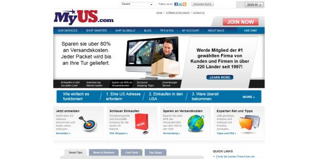 Dienste wie MyUS leiten Einkäufe aus US-Shops nachDeutschland.