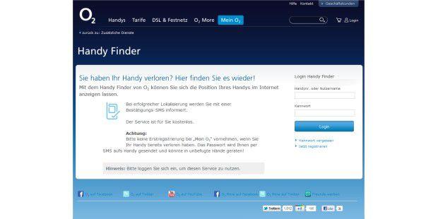 O2 bietet einen kostenlosen Service zur Ortung verlorenerHandys an