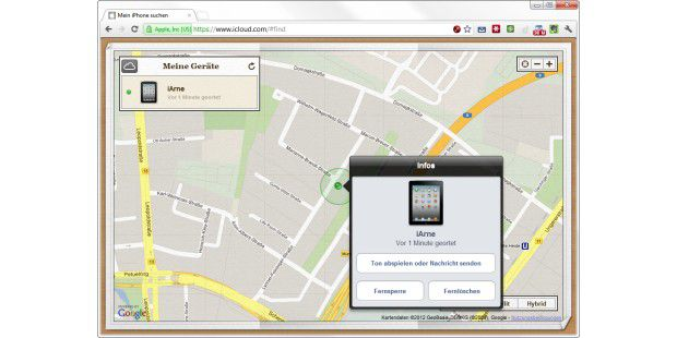 """iPhone-Nutzer finden ihr Smartphone mit Hilfe der App""""Mein iPhone suchen"""" und dem Onlinedienst iCloud wieder."""