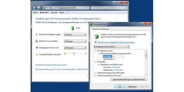 Windows 7 bietet ausgefeilteEnergiesparoptionen.