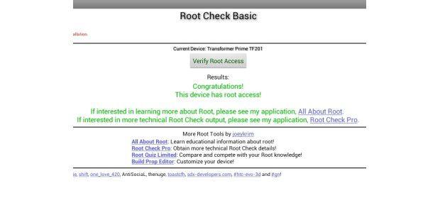 Die App Root Check Basic zeigt an, ob eine Gerät gerootetist.