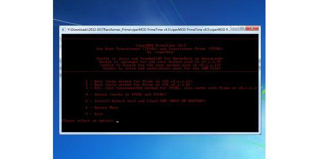 Mithilfe von viperMOD PrimeTime können Sie das TransformerPrime TF 201 rooten.