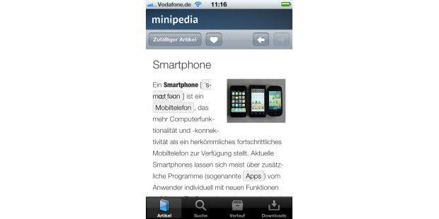 Mit Minipedia auf einem iPhone auf bis zu 100.000Wikipedia-Artikel zugreifen.