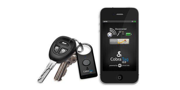 Der Cobra Tag hilft Ihnen Ihre Schlüssel oder IhrSmartphone wiederzufinden.