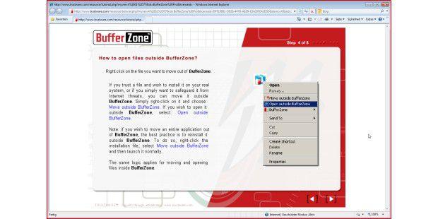 Schritt 4 von 8 der Einführung in BufferZone 4.