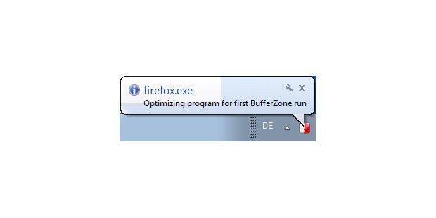 Gelegentlich macht sich BufferZone mit Informationen zuaktuellen Aktivitäten bemerkbar. Hier die Optimierung von Firefoxbeim ersten Start nach der Installation von BufferZone.