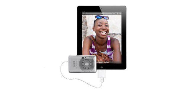 Mit dem iPad Camera Connection Kit bringen Sie Fotosdirekt von Ihrer Digicam auf Ihr iPad.