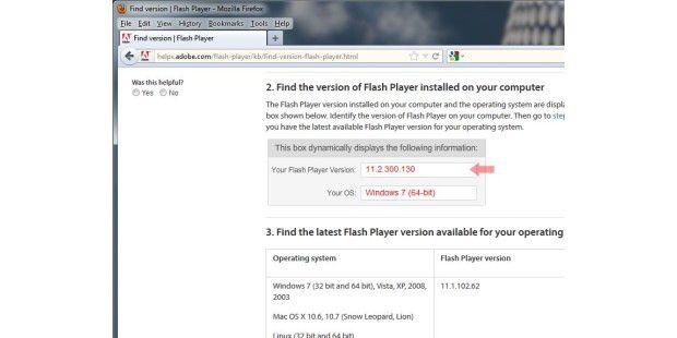 Installierte Flash-Version anzeigen: Ob die Installationder Beta-Version geklappt hat und welche Flash-Version geradeinstalliert ist, zeigt die Hilfe-Seite von Adobe an
