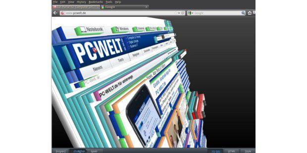 Ein weiteres Beispiel für die 3D-Visualisierung derHTML-Struktur mit Hilfe der Webmaster-Tools von Firefox11