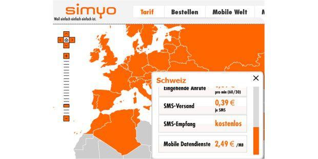 Beim Provider Simyo genügt ein Klick aufs Land, dann zeigtdie Karte die Roaming-Kosten an.