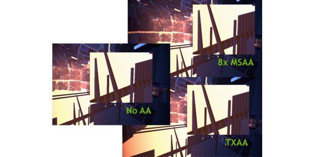 Die Kantenglättungen: einmal ohne, einmal 8faches MSAA undTXAA. Die Unterschiede sind deutlich zu erkennen.