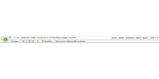 Als Dachzeile auf dem Desktop ist Dragon NaturallySpeakingbequem aus allen Anwendungen zu erreichen.