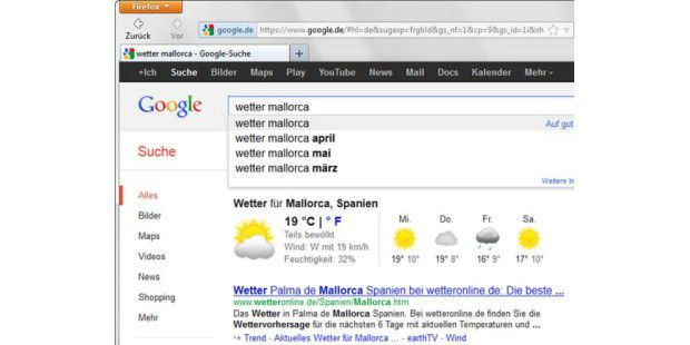 """Mit dem Befehl """"Wetter"""" und einem Städtenamen zeigt die Google-Suche direkt das aktuelle Wetter samt Vorhersage für drei Tage an."""