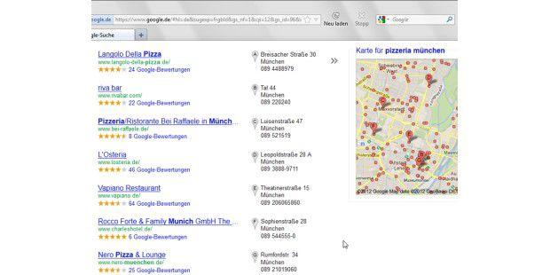 """Lust auf Pizza? Mit """"Pizzeria"""" und einem Städtenamenfindet Google alle Restaurants in Ihrer Nähe."""
