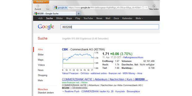 Für die Anzeige eines aktuellen Börsenkurses geben Sie beider Google-Suche einfach die Wertpapierkennnummer (WKN)an.