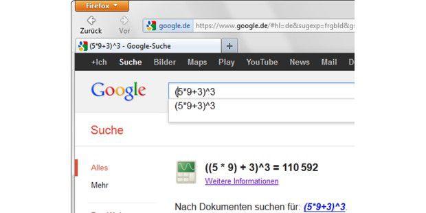 Die Google-Suche erledigt für Sie sogar komplizierteRechenaufgaben.