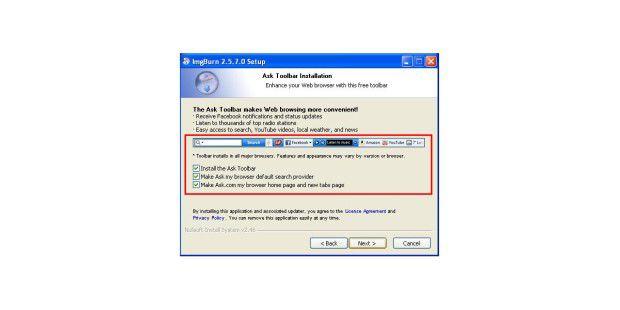 Ask Toolbar drängt sich während der Installationauf