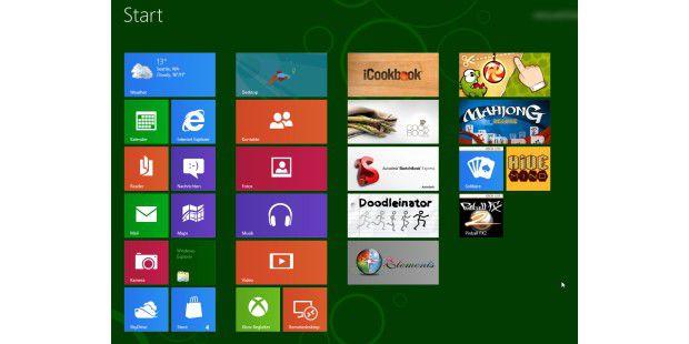 Der Startbildschirm von Windows 8 zeigt die wichtigstenKacheln. Anordnung und Anzahl der Kacheln können Sie freidefinieren.