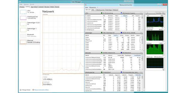 Der neue Taskmanager ist optisch überarbeitet und zeigtdie Informationen logisch gruppiert an. Der Ressourcen-Monitorzeigt noch ausführlichere Informationen an.